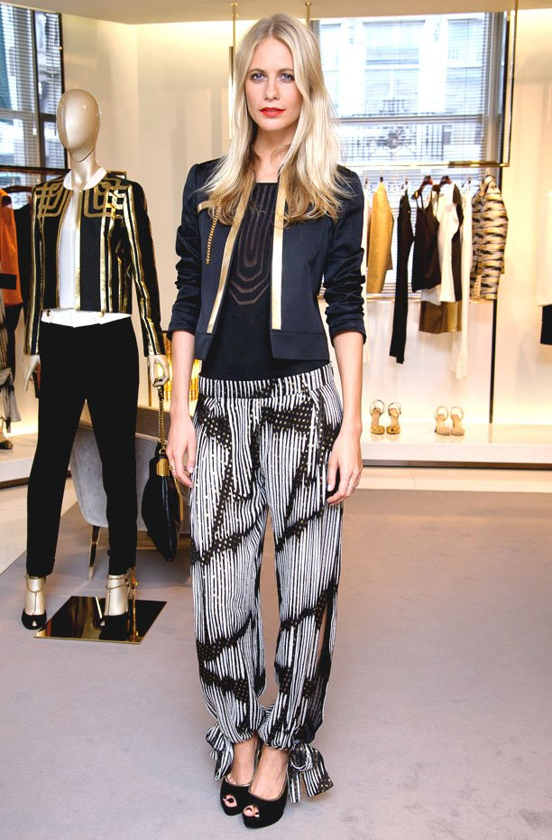 Poppy Delevigne in printed pants