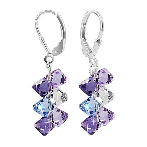 SCER009 Sterling Silver Lavender Blue and Clear Crystal Earrings Made with