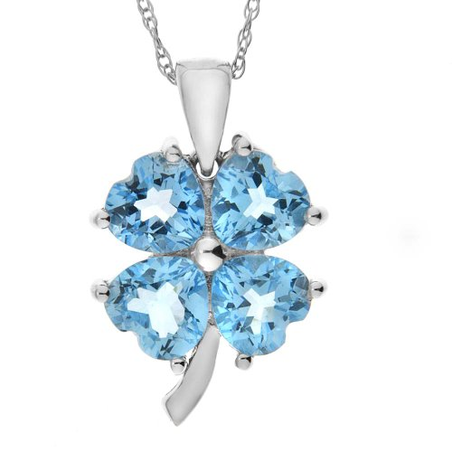 "10k White Gold Swiss Blue Topaz 4-Leaf Clover Pendant, 18"" - Gift for Mom"