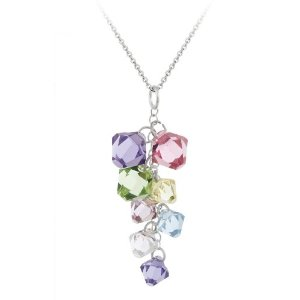 Sterling Silver Multi-Colored Swarovski Elements Linear Drop Pendant with Rolo Chain, 18""