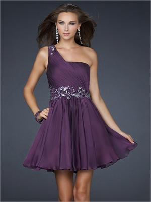 Prom Dress on One Shoulder Pleated Layered Chiffon Short Prom      Stylecaster
