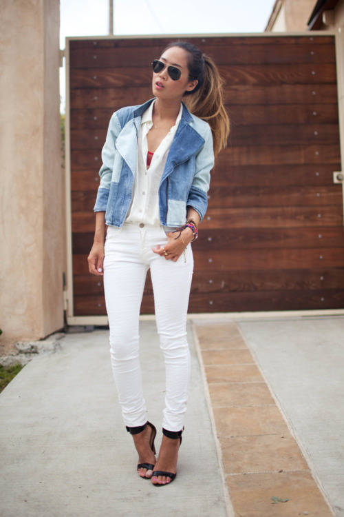 white jeans denim shirt - Jean Yu Beauty