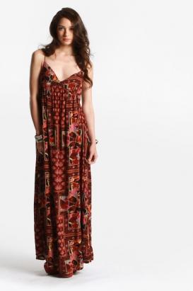 insight - women's oriental patchwork maxi dress (olive) - Insight | 80's Pu
