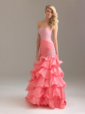 Pink Dress on Pink Mermaid Sweetheart Floor Length Zipper Prom Dresses With