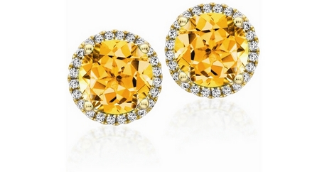 Citrine And Diamond Stud Earrings - Grace Collection - Shop - Kiki McDonoug