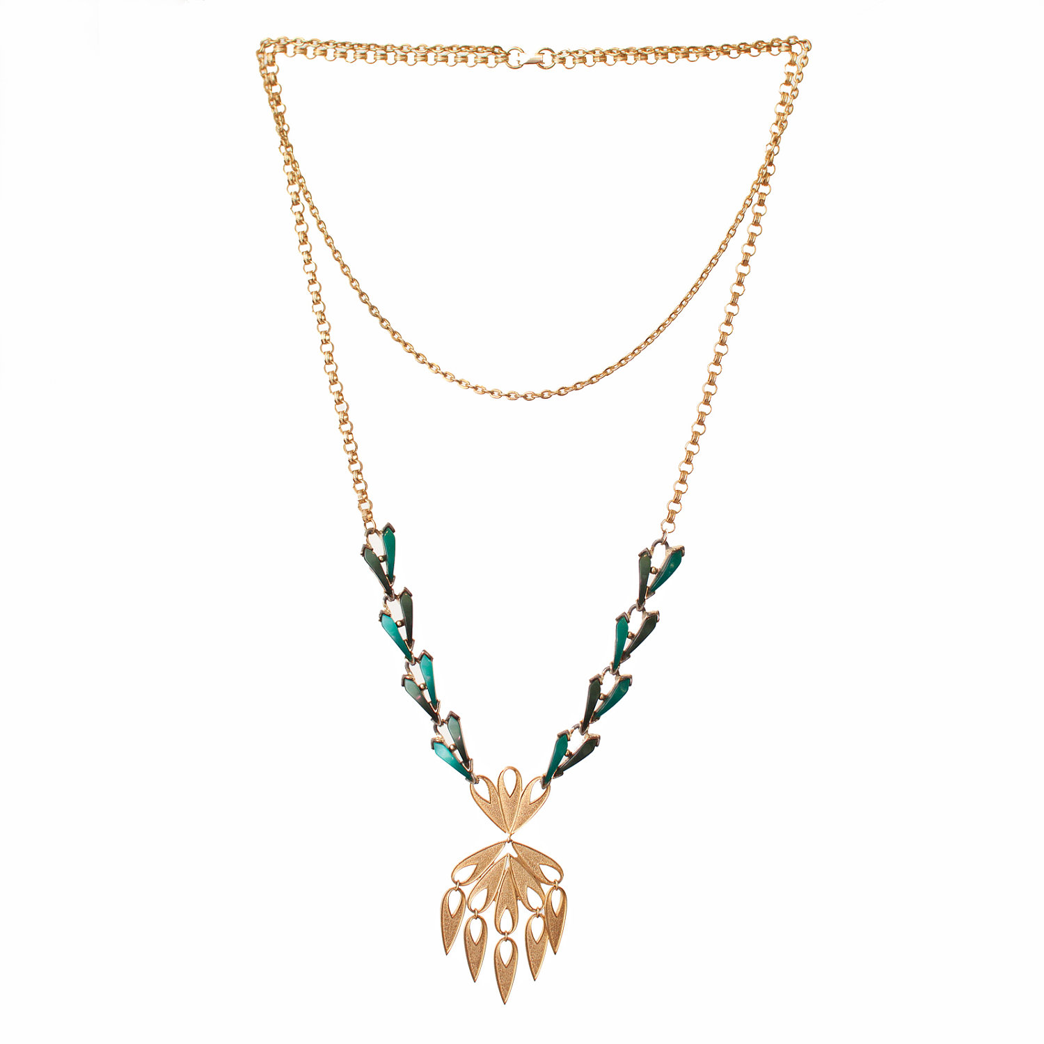 Repurposed Gold & Green Necklace with Amazing Pendant - $60.00 USD