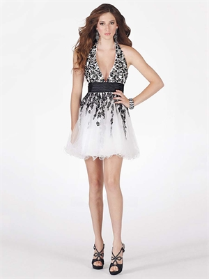 White Lace Dress on Short Halter Strap Top Lace White And Black Prom      Stylecaster