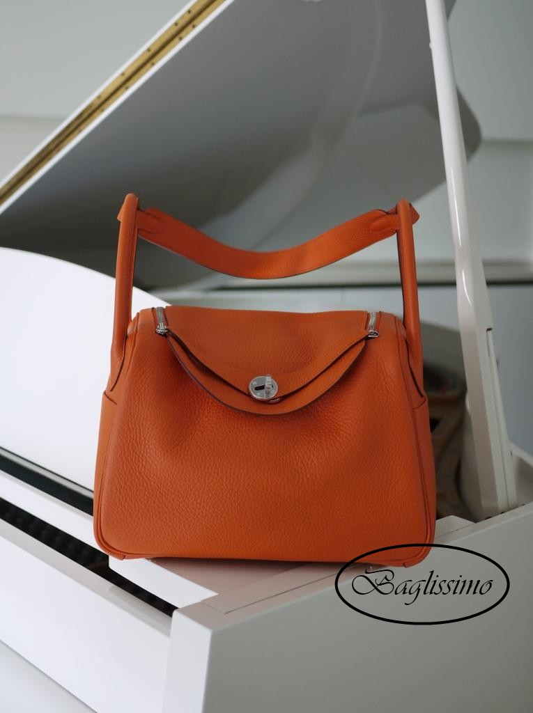 Hermès Lindy 30cm Orange Clemence Leather