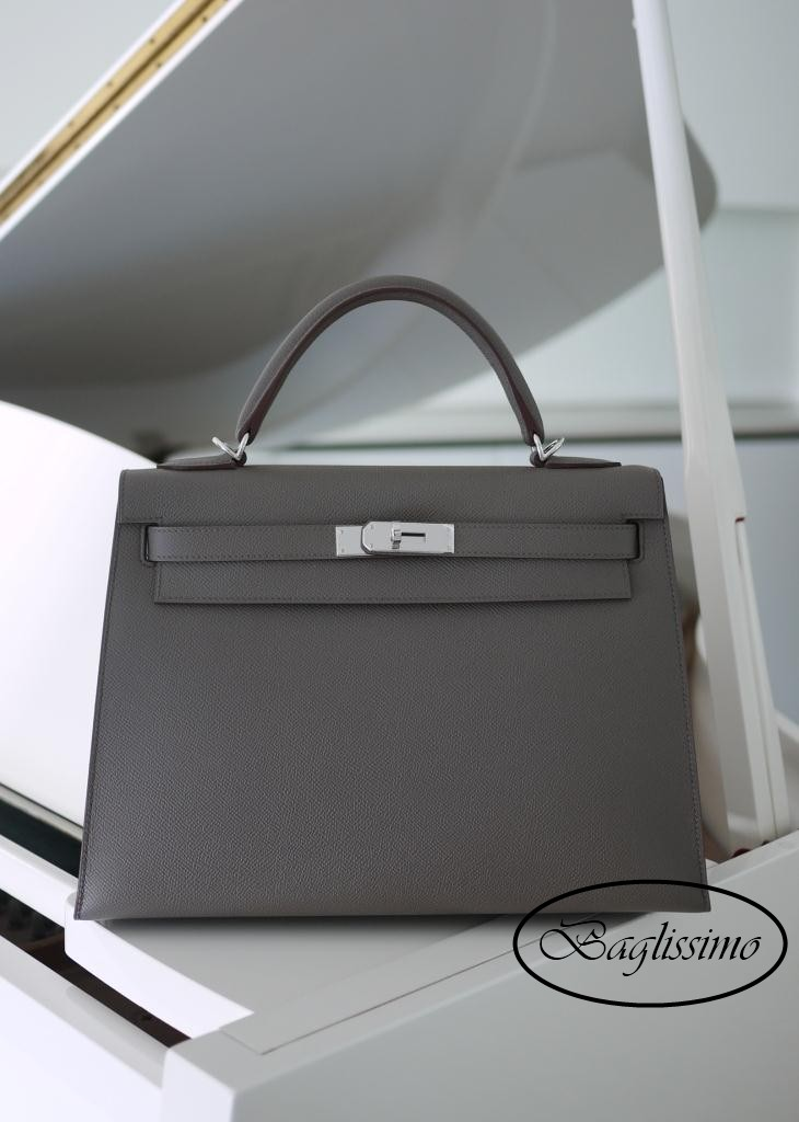 Hermès Kelly 32cm Etoupe Epsom Leather