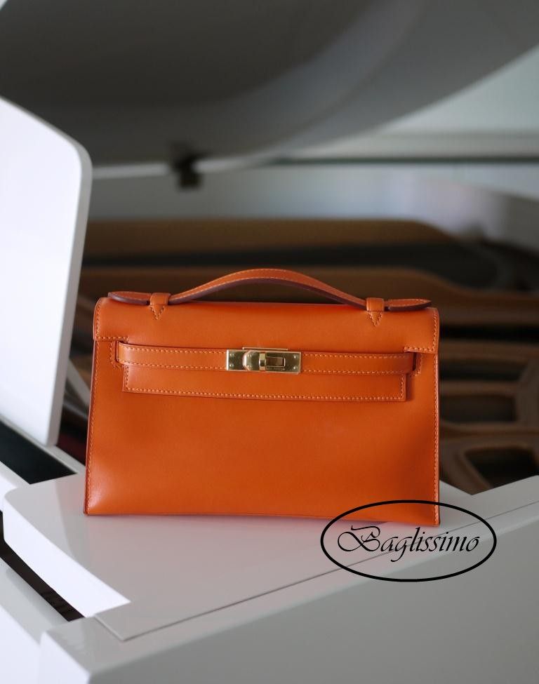 Hermès Kelly Pochette Orange Swift Leather