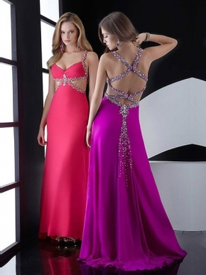 Prom Dress Sale on Cheap Strap Red A Line Floor Length Prom Dress With Beads On Sale