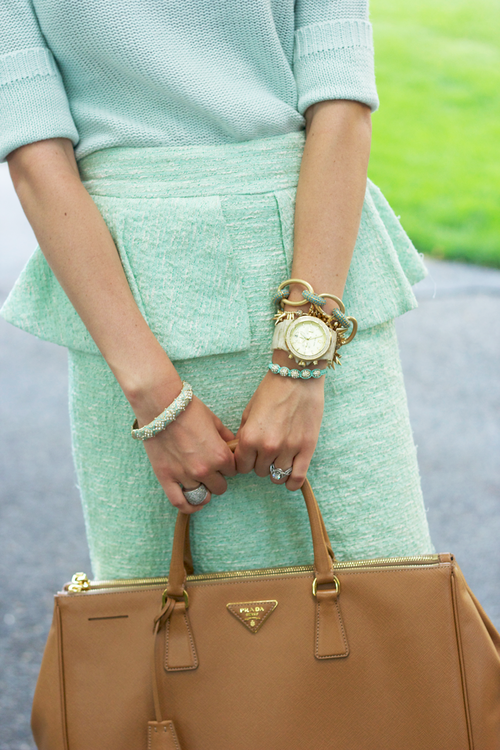 Mint Tweed Skirt