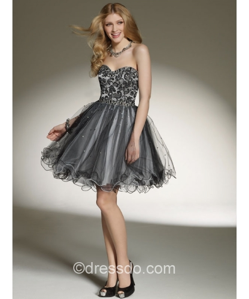 Strapless Short/Mini Ball Gown Organza Cocktail Dress with Beading