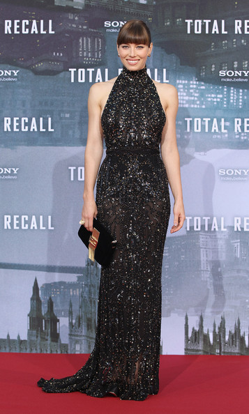Jessica Biel in Elie Saab at the Total Recall Berlin Premiere | Fashion Wra