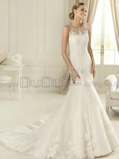 Free Shipping Lace Round Brought Sweep Appliques Wedding Dresses