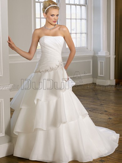 Free Shipping Organza Strapless Sweep Beading Wedding Dresses