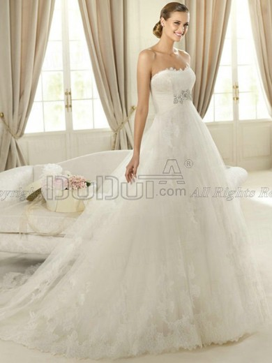 Free Shipping Lace Strapless Zipper Sweep Beading Wedding Dresses