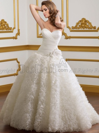 Free Shipping Organza Sweetheart Strapless Sweep Flower Wedding Dresses