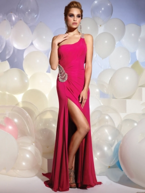 Shoulder Dress on Uk A Line One Shoulder Jewel Long Red Dress      Stylecaster