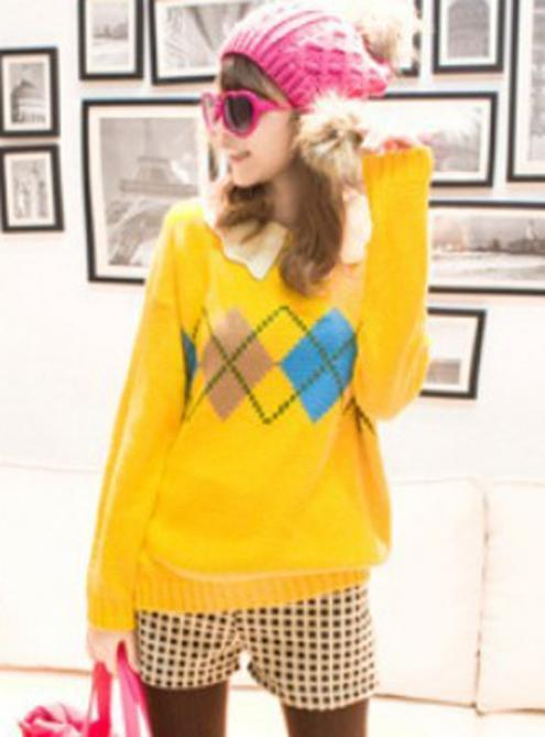 Yellow Wave Collar Contrast Lattice Jacquard Sweater $40.00