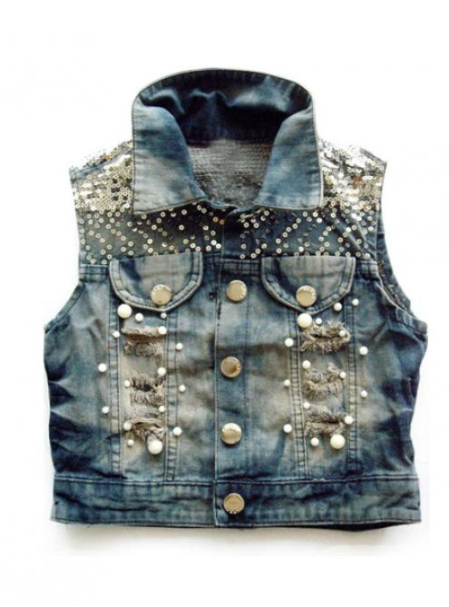 Vintage Sequins Denim Vest$39.00