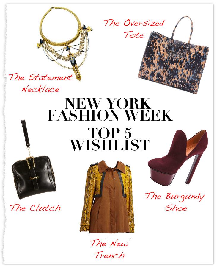 New York Fashion Week Countdown: Top 5 Wish List | ICON