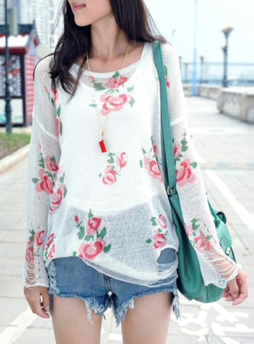 Rose Hole Sweater Colorful$46.00
