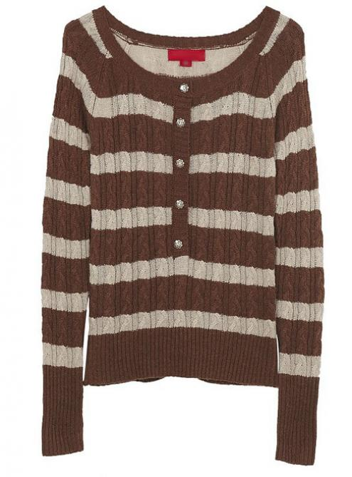 Striped Long Sleeve Brown Sweater$53.00
