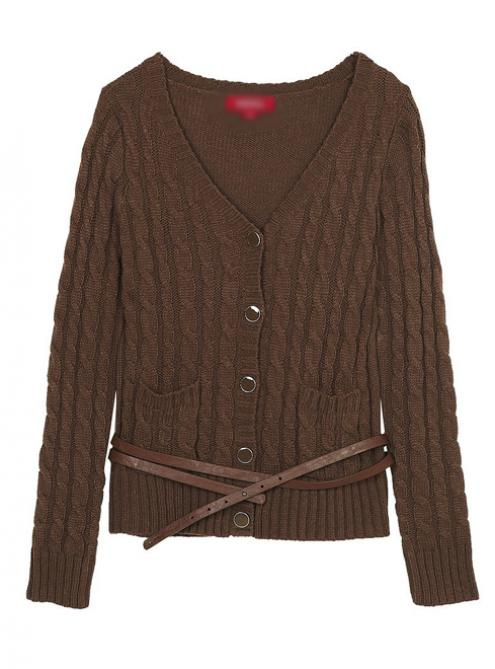 Vintage Twist Long Sleeve Coffee Sweater$55.00