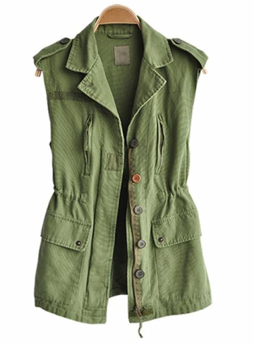 Lapel Sleeveless Green Vest$46.00