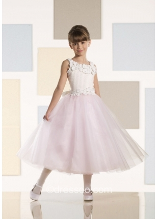 Free Shipping! Jewel Tea-length Ball Gown Flower Girl Dress