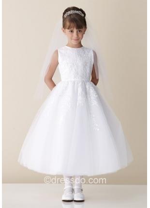 Free Shipping!!! White Jewel Sleeveless Tulle Flower Girl Dress