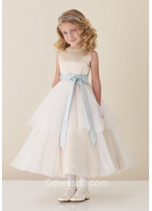 Free Shipping!!! Ivory Jewel Tea-length Tulle Satin Flower Girl Dress