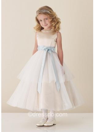 Free Shipping!!! Ivory Jewel Tea-length Tulle Satin Flower Girl Dress