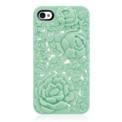 Unique Green Rose Embossing Case for iPhone 4/4S - Free Shipping | Pincases