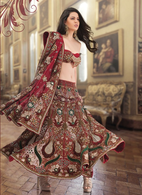 Flamboyant Brick Red Lehenga Choli