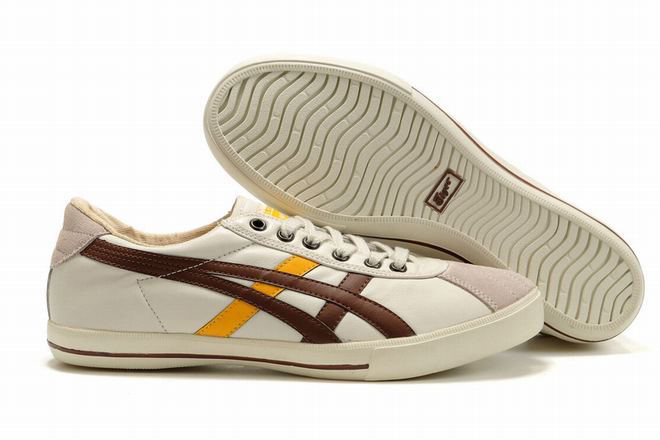 beige chocolate yellow mens asics