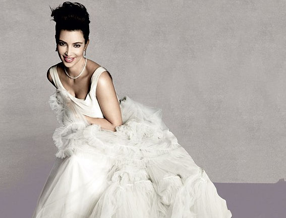 Kim Kardashian Poses in Bridal Gown, Discusses Kanye West and Her Next Wedding