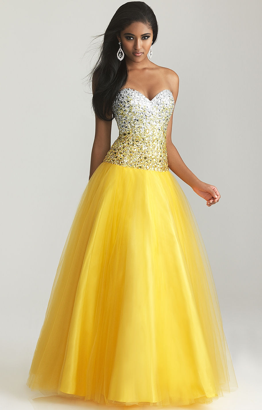 Yellow Strapless Long Prom Dresses 2013 By Night ...