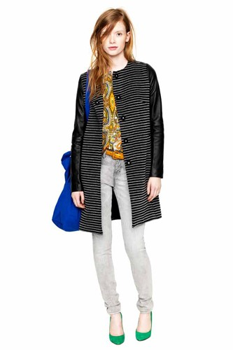 Want: Striped Wool Coat With Leather Sleeves From Madewell