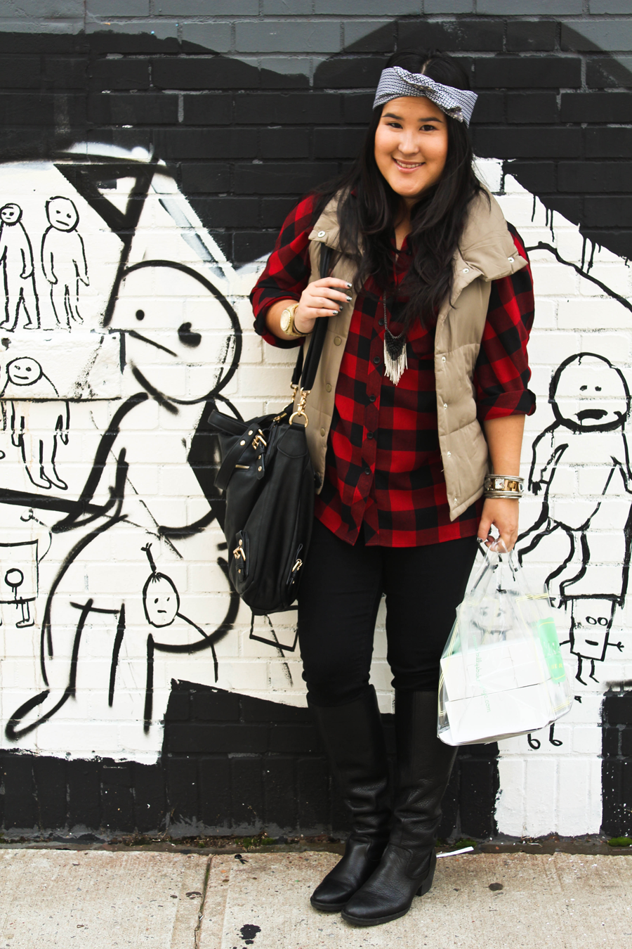 Fall Outfit Inspiration | Plaid Tunic, Quilted Vest, Boots and a Headband |