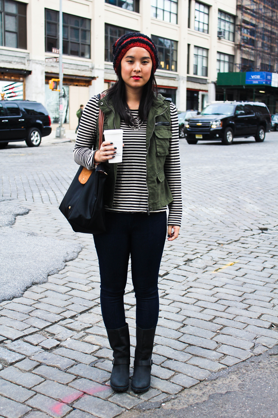 Fall Street Style | Striped Long Sleeve, Military Vest and Black Boots | Th