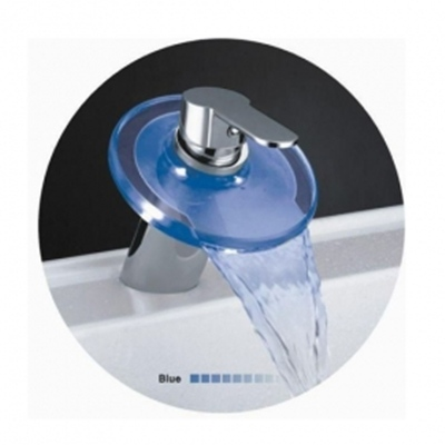 Waterfall Bathroom Faucet on Amazing Single Handle Led Waterfall Bathroom Sink Faucet