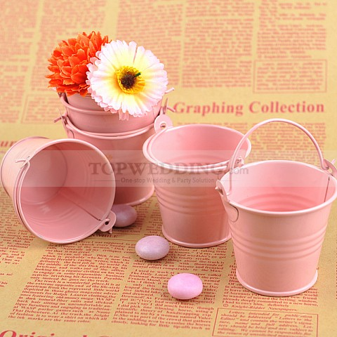 Pink Alloy Favor Pail (Set of 12)