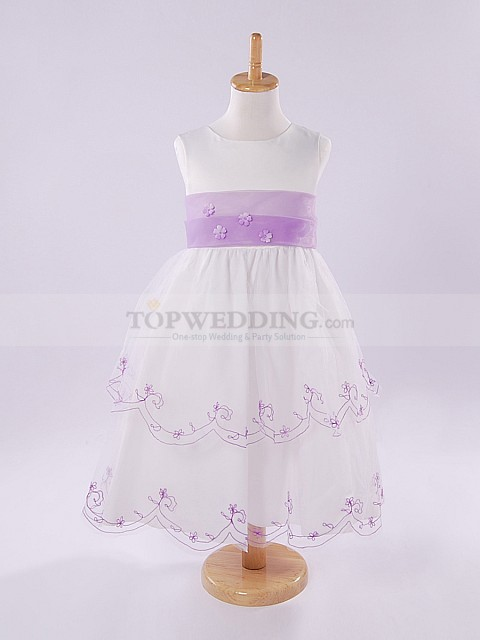 Ivory Sleeveless Organza over Satin Flower Girl Dress with Lilac Sash