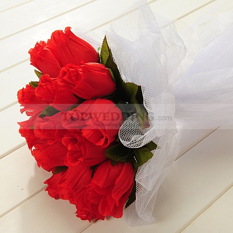 Tulle Wrapped Red Rose Wedding Bouquet with Leaves