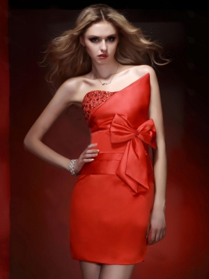 Sheath Dress on Buy Charming Red Sheath Column Strapless Mini Prom Dress Under
