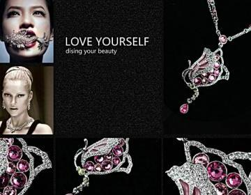 Fashion Pink Swan Necklace for Women