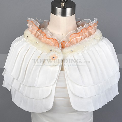 Ivory Bridal Cape with Ruffles and Rhinestones