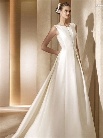 Classic simple natural waist a line satin stylecaster for Simple classic wedding dress